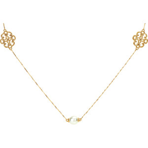 14kt Yellow Pearl Station<br> Necklace 4