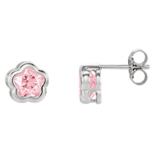 Sterling Silver Rose CZ Stud Earrings