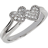 Double Heart Design Cubic Zirconia Pave´ Ring