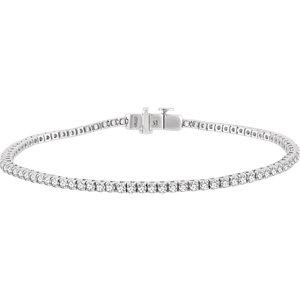"14K White 3 CTW Diamond 7"" Line Bracelet"