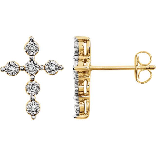 14K Two-Tone 1/10 CTW Diamond Earrings
