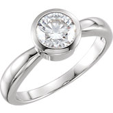 Round Bezel-Set Solitaire Engagement Ring Mounting