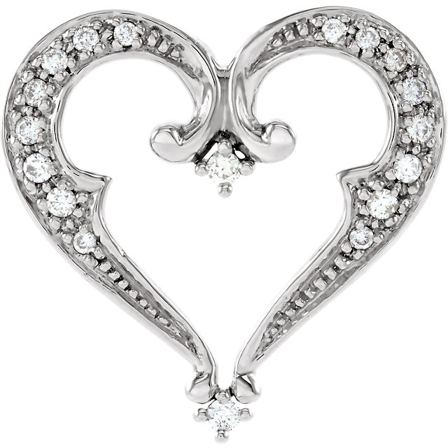 14K White 1/5 CTW Diamond Heart Pendant Slide