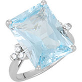 Genuine Sky Blue Topaz & Diamond Ring