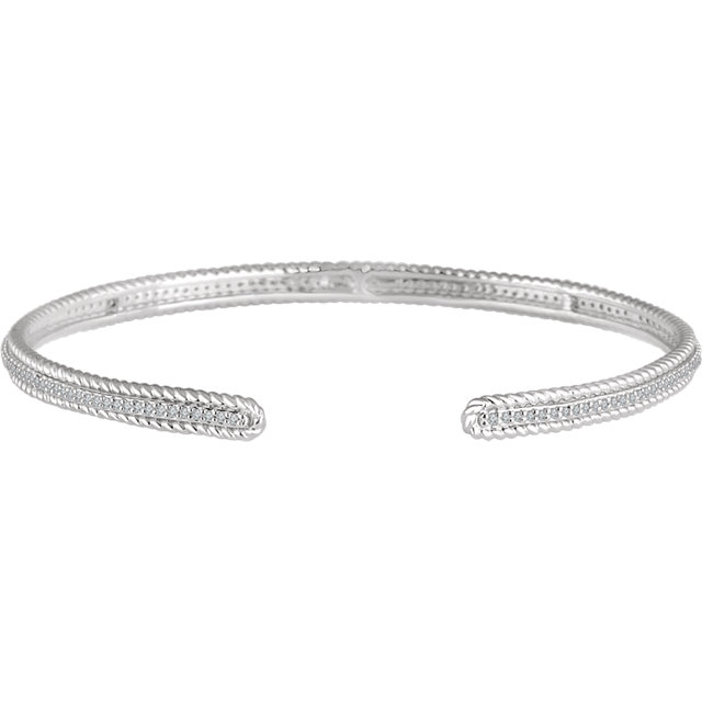 14K White 1/2 CTW Diamond Cuff Bracelet