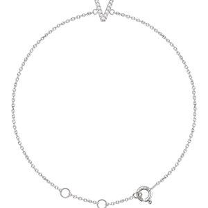 """14K White .05 CTW Diamond Initial """"V"""" 6-7"""" Bracelet"""