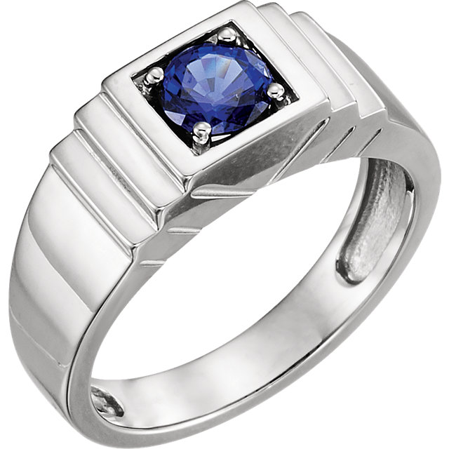 14K White Men-s Chatham® Created Blue Sapphire Ring