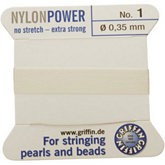 #1 White Nylon(Polyamid) Carded Bead Cord (.35mm)