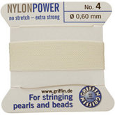 #4 White Nylon (Polyamid) Carded Bead Cord (.60mm)