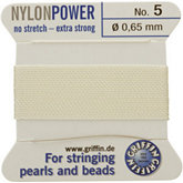 #5 White Nylon (Polyamid) Carded Bead Cord (.65mm)