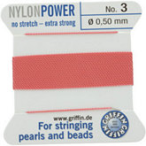 #3 Dark Pink Nylon (Polyamid) Carded Bead Cord (.50mm)