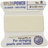 #8 White Nylon (Polyamid) Carded Bead Cord (.80mm)