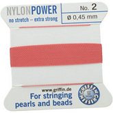 #2 Dark Pink Nylon (Polyamid) Carded Bead Cord (.45mm)