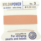 #3 Light Pink Nylon (Polyamid) Carded Bead Cord (.50mm)