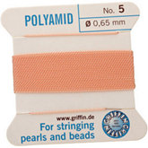 #5 Light Pink Nylon (Polyamid) Carded Bead Cord (.65mm)