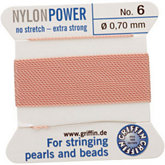 #6 Light Pink Nylon (Polyamid) Carded Bead Cord (.70mm)