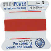 #3 Red Nylon (Polyamid) Carded Bead Cord (.50mm)