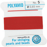 #5 Red Nylon (Polyamid) Carded Bead Cord (.65mm)