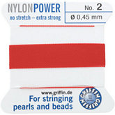 #2 Red Nylon (Polyamid) Carded Bead Cord (.45mm)