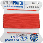 #8 Red Nylon (Polyamid) Carded Bead Cord (.80mm)