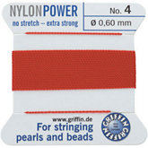 #4 Red Nylon (Polyamid) Carded Bead Cord (.60mm)