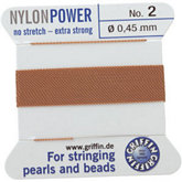 #2 Beige Nylon (Polyamid) Carded Bead Cord (.45mm)