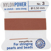 #3 Beige Nylon (Polyamid) Carded Bead Cord (.50mm)