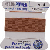 #4 Beige Nylon (Polyamid) Carded Bead Cord (.60mm)