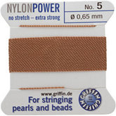 #5 Beige Nylon (Polyamid) Carded Bead Cord (.65mm)