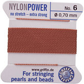 #6 Beige Nylon (Polyamid) Carded Bead Cord (.70mm)