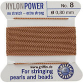 #8 Beige Nylon (Polyamid) Carded Bead Cord (.80mm)