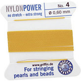 #4 Yellow Nylon (Polyamid) Carded Bead Cord (.60mm)