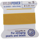 #5 Yellow Nylon (Polyamid) Carded Bead Cord (.65mm)