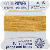 #6 Yellow Nylon (Polyamid) Carded Bead Cord (.70mm)