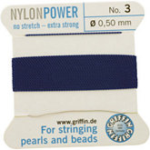 #3 Blue Nylon (Polyamid) Carded Bead Cord (.50mm)