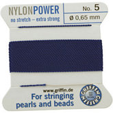 #5 Blue Nylon (Polyamid) Carded Bead Cord (.65mm)