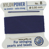 #8 Blue Nylon (Polyamid) Carded Bead Cord (.80mm)