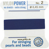 #2 Blue Nylon (Polyamid) Carded Bead Cord (.45mm)