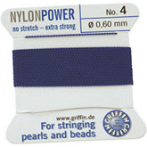 #4 Blue Nylon (Polyamid) Carded Bead Cord (.60mm)