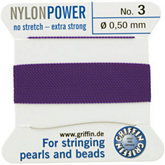 #3 Amethyst Nylon (Polyamid) Carded Bead Cord (.50mm)