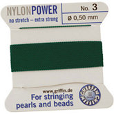 #3 Green Nylon (Polyamid) Carded Bead Cord (.50mm)