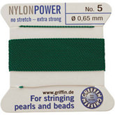 #5 Green Nylon (Polyamid) Carded Bead Cord (.65mm)