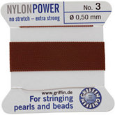 #3 Brown Nylon (Polyamid) Carded Bead Cord (.50mm)