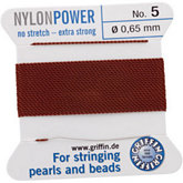 #5 Brown Nylon (polyamid) Carded Bead Cord (.65mm)