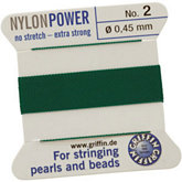#2 Green Nylon (Polyamid) Carded Bead Cord (.45mm)