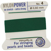 #4 Green Nylon (Polyamid) Carded Bead Cord (.60mm)