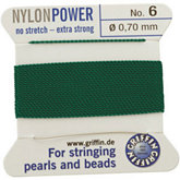 #6 Green Nylon (Polyamid) Carded Bead Cord (.70mm)