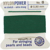#8 Green Nylon (Polyamid) Carded Bead Cord (.80mm)