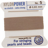 #5 Gray Nylon (Polyamid) Carded Bead Cord (.65mm)