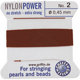 #2 Brown Nylon (Polyamid) Carded Bead Cord (.45mm)